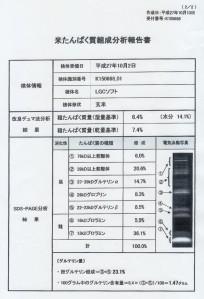 米たんぱく質組成分析報告書